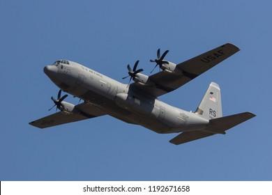 Luqa, September 15, 2018: USA - Air Force Lockheed Martin C-130J-30 Hercules (L-382) overflying runway