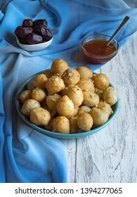 Luqaimat - traditional Arabic sweet dumplings. Sweet Ramadan food.