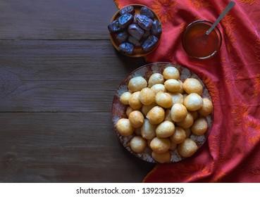 Luqaimat - traditional sweet dumplings of UAE. Sweet ramadhan dumplings.
