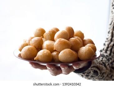 Luqaimat - traditional sweet dumplings of UAE. Sweet Ramadan dumplings.