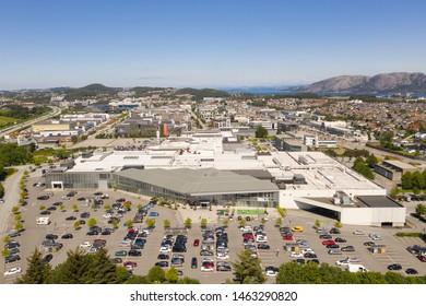 Lura, Sandnes, Rogaland / Norway, 07.10.2019: Aerial shot of Kvadrat shopping mall in Lura, Sandnes.