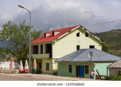 Lure, Albania- 26 June 2014: Street of old Lure, small village in mountain, Lure National Park.