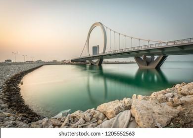 Lusail, Doha/Qatar - Oct 17, 2018: Arch Bridge at Lusail, Doha Qatar.