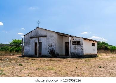 Lusaka, Zambia - November 3, 2017: Old deserted church in the Zambian countryside