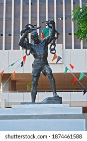 Lusaka, Zambia - October 28th, 2020 - The Zambian Freedom statue in front of the government offices in downtown Lusaka, closeby the Lusaka National Museum.