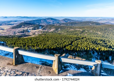 Lusatian Mountains, Czech: Luzicke hory, panoramic view of hilly landscape from Jested Mountain on sunny freezy day. - Shutterstock ID 1792744024