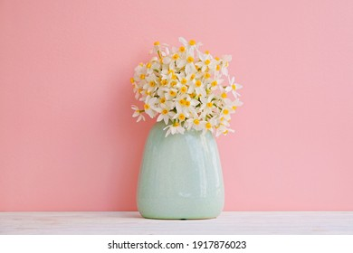 Lush bouquet of white-yellow daffodils in vintage turquoise vase isolated on pink background. Tender minimalistic spring flowers composition. Top view, copy space for text, flat lay, close up.