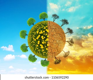 Lush and dry planet with trees. Concept of change climate or global warming.