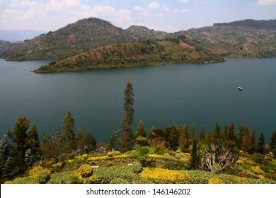 A lush garden leading to the waters of Lake Kivu, in Rwanda