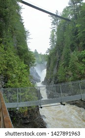 The lush green Canyon Sainte Anne in Quebec Canada which is home to the waterfalls, or chutes, of the Sainte Anne du Norde River