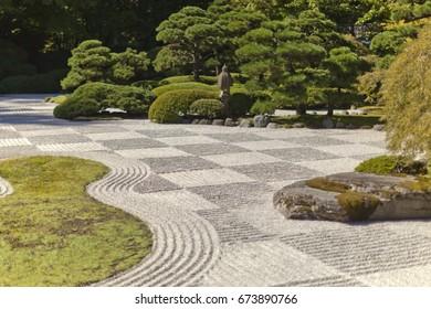 Lush green Japanese garden in summer