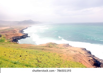 Lush green landscape and seascape, rocky beach of Al Mughsayl Beach Salalah, Oman