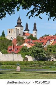Lush green parks in the medieval town of Visby.