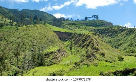 Lush mountains by the Devil's Nose Railroad near Alausi, Ecuador