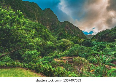 A lush rainforest view of Iao Valley State Park, located outside of Kahului and Wailuku in the West Maui Forest Reserve on the island of Maui, Hawaii, United States.