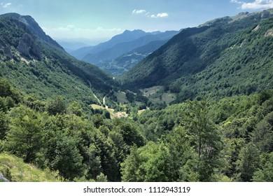 lush valley between mountains of Montenegro