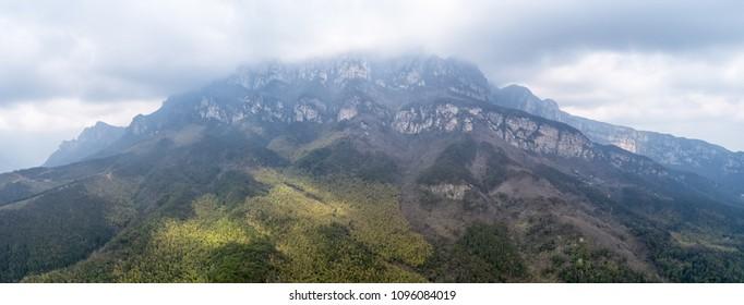 lushan mountain scenery, peak in cloudy, China