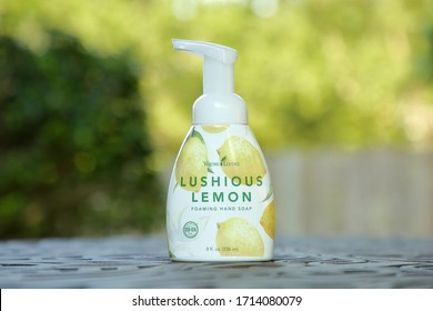 Lushious Lemon foaming hand soap is a new product produced by Young Living which was released in April of 2020 - San Antonio, Texas, USA - April 25, 2020
