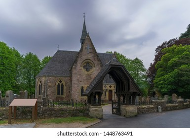 Luss Perish Church stood on the banks of Loch Lomond in glommy day , Argyll & Bute, Scotland