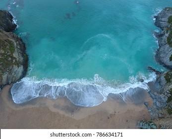 Lusty Glaze beach Newquay - Cornwall coast aerial view - England beaches