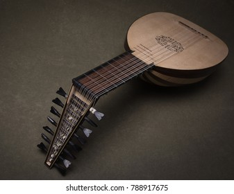 Lute of the 16th century. Close-up details