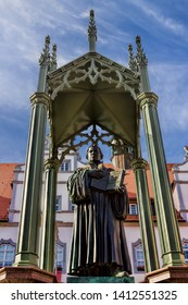Luther monument in the old town of Wittenberg, Germany