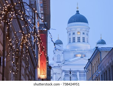 Lutheran Cathedral and Christmas decorations. Helsinki, Finland.