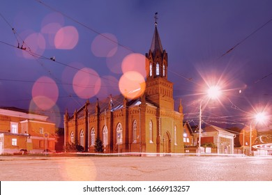 Lutheran Church: The Evangelical Lutheran Community of St. Mary. Night view of the center of Ulyanovsk.