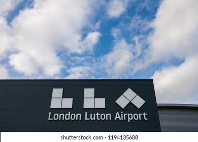 Luton Airport logo.It's the fourth largest airport serving the London area after Heathrow, Gatwick and Stansted. It's one of London's six international airports: LUTON,UK-SEPT 28,2018
