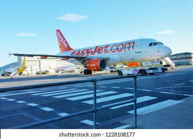 LUTON, UK - JUNE 2015: an easyjet plane before boarding in Luton airport, England
