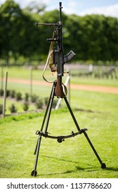 Luton, UK May 26 2011 : Machine Gun standing on a tripod at a Second World War Show at Wrest Parks St Georges Day