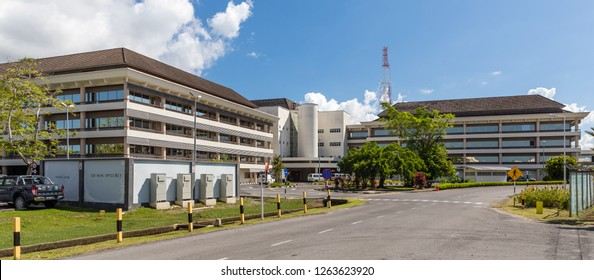 Lutong, Miri, Sarawak, Malaysia - December 5 2018: Headquarters of Sarawak Shell Miri Bhd and formerly administration of the now dismantled Lutong Refinery site.