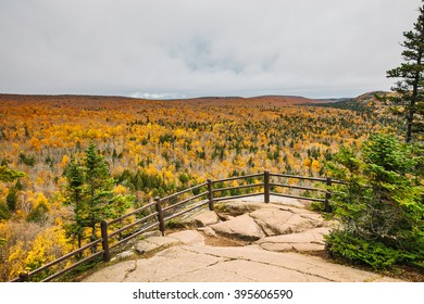 LUTSEN, MN, USA - OCTOBER 14, 2015: Panorama landscape autumn view near Lake Superior, Minnesota