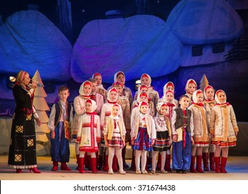LUTSK - JANUARY 20: Children choir performs in the theater at a charity concert Christmas carol with Tatiana Tsihotska to raise funds for Ukrainian Army on January 20, 2016 in Lutsk, Ukraine.