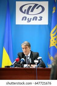 LUTSK, UKRAINE - 02 December 2008: Press conference of the President of Ukraine Viktor Yushchenko
