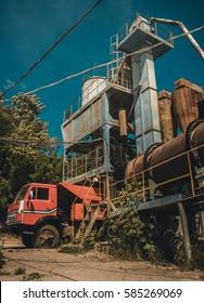 LUTSK, UKRAINE - 02 June 2008: Loading dump truck at factory for asphalt production in Ukraine