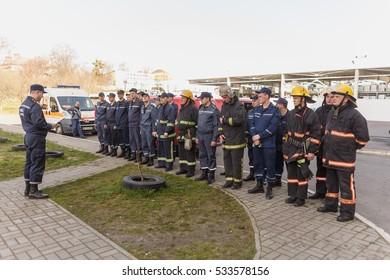 LUTSK, UKRAINE - 6 APRIL 2016: Firemen training teams in rise building