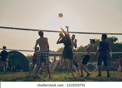 Lutsk, Ukraine, August 4, 2018: volleyball in the nature