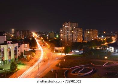 Lutsk, Ukraine - May 03, 2017: Central street of Lutsk city at night with traffic lights.