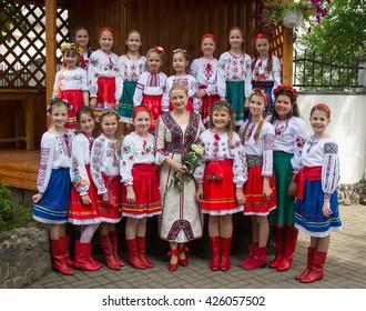 LUTSK, UKRAINE - May 15, 2016: Lesson Ukrainian embroidered at school on May 15, 2016 in Lutsk, Ukraine