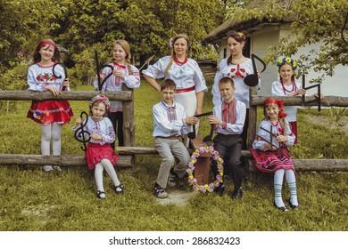 LUTSK, UKRAINE - May 18, 2015: Lesson Ukrainian music at school on May 18, 2015 in Lutsk, Ukraine