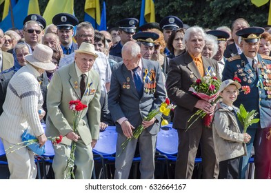 Lutsk ,Ukraine, MAY 9, 2014: Victory Day the 9th of May people column