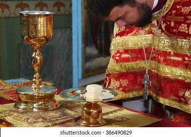 LUTSK, UKRAINE - NOVEMBER 02 - Orthodox priest during holiday prayers in Lutsk on November 02, 2008.