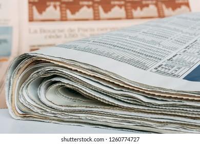 LUTSK, Volun / UKRAINE - NOVEMBER 30 2010: International business newspapers on table at home