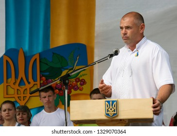 LUTSK, Volyn / UKRAINE - August 24 2012: People's deputy of Ukraine Ihor Palytsia delivers a speech during the celebration of Independence Day