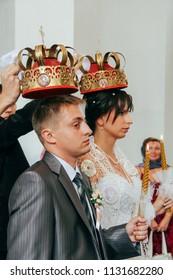 Lutsk, Volyn / Ukraine - August 30 2009: Wedding in Orthodox church