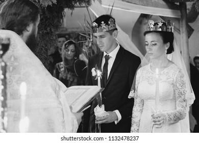 LUTSK, Volyn / UKRAINE - SEPTEMBER 20 2015: Wedding in Orthodox church