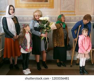 Lutsk, Volyn / Ukraine - September 30 2018: Women believe faith religious in christianity church