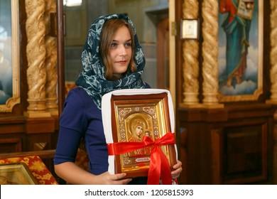Lutsk, Volyn / Ukraine - September 30 2018: Bridesmaid at the church