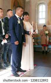 Lutsk, Volyn / Ukraine - September 30 2018: Wedding in Orthodox church